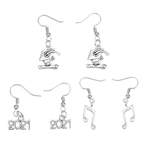 PRETYZOOM 3 Pairs Graduation Alloy Earrings 2021 Note Doctoral Cap Eardrops Creative Gifts Festival Gifts