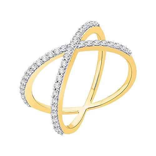 Diamond CRISS-Cross Anillo en 14K oro (3/8quilates) (color-gh, clarity-i2, i3)
