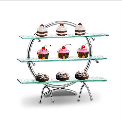 Soporte de Exhibición de Cupcakes de Postres 3 capas Sushi bandeja de la torta del estante de exhibición de acero inoxidable buffet comida fría Estante postre redondo bandeja Para Servir Pastel de Sán