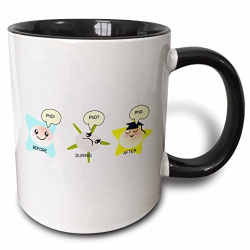 3dRose PhD Funny Process Cartoon Before During After Humorous Graduation Gift Two Tone Mug, 11 oz, Black