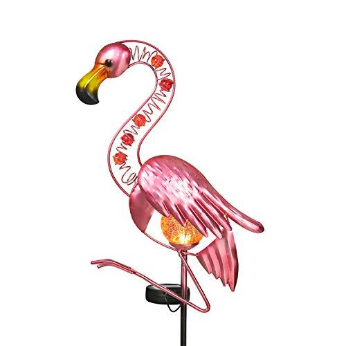 Garden Lights Solar Powered Flamingo Garden Decor Waterproof Metal Flamingo Solar Stake for Outdoor Patio Yard Decorations (Pink)