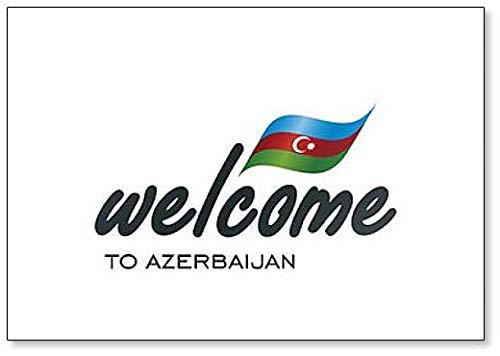 Kühlschrankmagnet, Motiv: Welcome to Aserbaidschan mit Flagge