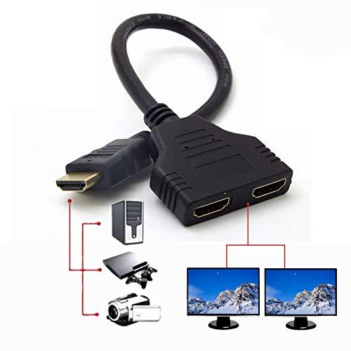 Uzanpie HDMI Splitter Adapter für 1080P HDTV, Dual HDMI Adapter, HDMI-Stecker auf 2 HDMI Splitter Buchsen Unterstützung für Xbox, Blueray, DVD-Player, PS3 (12.2inch, Black)