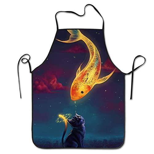Delantal de alta calidad con corbatas ajustables en la cintura, relojes de pescado con baberos para peces rojos para cocinar, hornear, jardinería y cortar el pelo