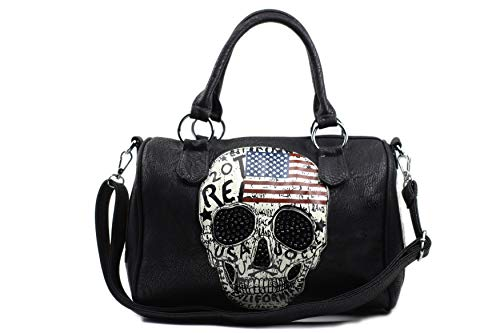 Damen Handtasche Totenkopf Skull Bone Bowling Bag Gothic Punk Damentasche Stars Stripes Amerika Punk Rock Pop Strassoptik Bowling Bag