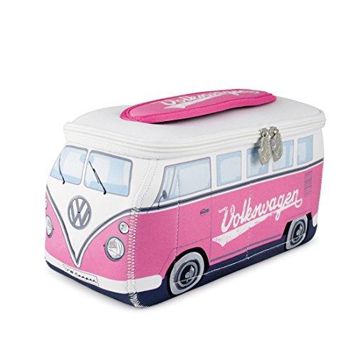 BRISA VW Collection - Volkswagen Hippie Bus T1 Camper Van Borsa Universale 3D da toilette-bagno di Neoprene, Beauty-case da Viaggio, Trousse per trucchi, Porta-pranzo, Valigeria (Fucsia/Bianco)