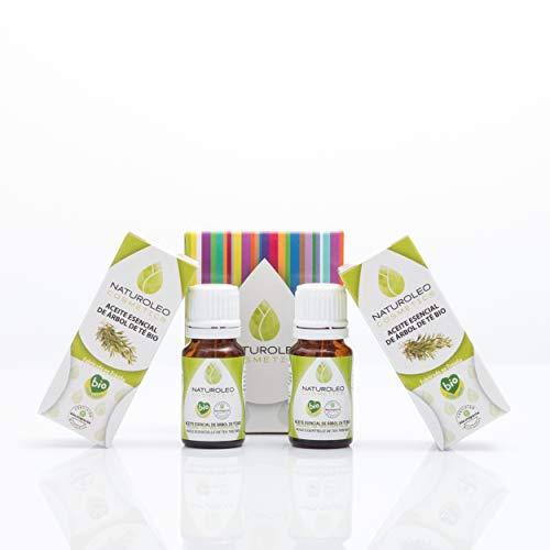 Naturoleo Cosmetics - Árbol de Té BIO - Aceite Esencial 100% Puro Ecológico Certificado - 10 ml + 10 ml