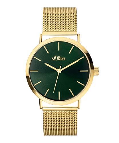 s.Oliver Damen Analog Quarz Armbanduhr mit Edelstahlarmband SO-3888-MQ