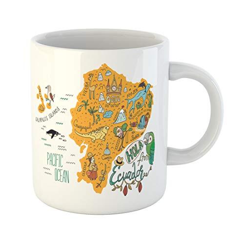 Semtomn Funny Coffee Mug Map of Ecuador and Galapagos Islands All Main Tourist 11 Oz Ceramic Coffee Mugs Tea Cup Best Gift Or Souvenir