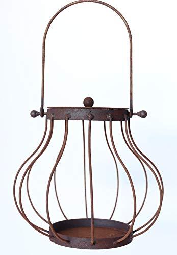 Hirsch Terracotta Laterne Linda28 aus Metall Rost-Laterne Edelrost D:28cm H:46cm Windlicht Garten-Deko Blumenampel Dekoration