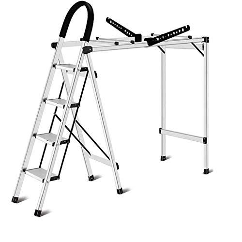 C-J-Xin dual purpose ladder, folding kledinghangers broeken wasrek Climbing staande ladder frame/Folding dikte 6 cm/oranje, wit huishoudtrap 24 * 150cm wit