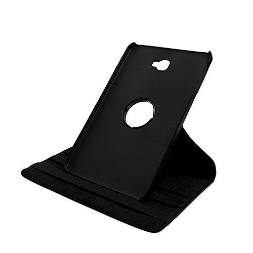 Drehbare Hülle mit Standfunktion für Samsung Galaxy Tab A (A6 2016) 10.1 inkl. Schutzfolie in SCHWARZ mit automatischer Sleep- und Wake-Up-Funktion [passend für Modell SM-T580, SM-T585]