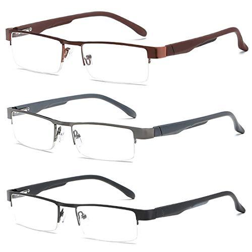 Inlefen Metall Lesebrille Männer Frauen Klassische Brillen Halbrahmen Gläser Lesen Rechteckige Brillen