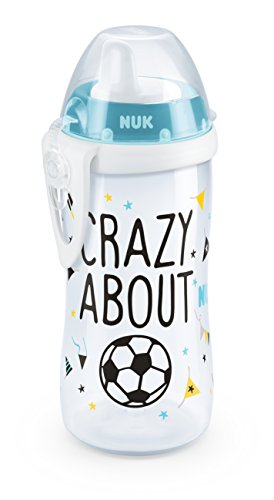 NUK 10255374 Kiddy Cup Fußball-Edition, harte Trinktülle, auslaufsicher, 300 ml