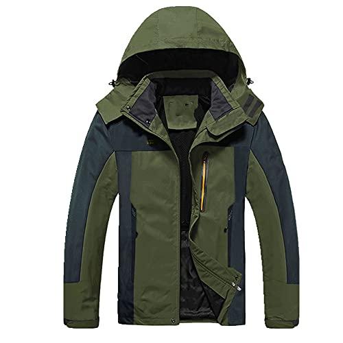 Primavera Outdoor Impermeabile Uomo Escursionismo Giacche Da Viaggio Cappotti Pesca, Verde militare, L