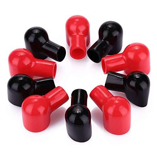 ZHITING 10 Stk Batterie Terminal Abdeckungen Weichem Kunststoff Schutzkappe Isolierende Terminal Covers Positive und Negative Rot & Schwarz