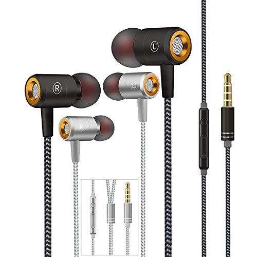 Auriculares,Auriculares In-Ear con micrófono,Auriculares con Cable Aislamiento de Ruido Sonido Estéreo 3.5mm Sonido Puro para Phone,Andriod Smartphone,Reproductores de MP3 y más(Negro y Plata)