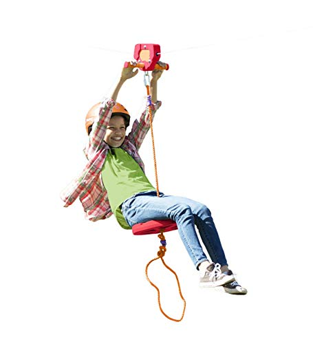 HearthSong 80-Foot Red Stainless Steel Backyard Zipline Kit with Adjustable Seat, Non-Slip Handles, Rubber Stopper, and Hanging Hardware, Holds Up to 250 Lbs.