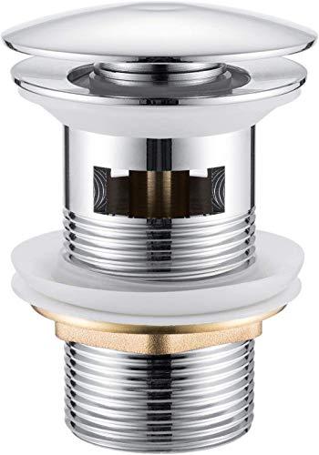 Yimorex Universal Ablaufgarnitur für Waschbecken & Waschtisch Chrom Pop Up Ventil Ablaufventil Ablaufgarnitur aus Messing - ohne Überlauf (mit Überlauf)