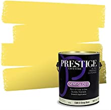 Prestige Paints Exterior Paint and Primer In One, 1-Gallon, Semi-Gloss, Comparable Match of Benjamin Moore* Delightful Yellow*