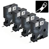 4-Pack Compatible Industrial Labels Replacement for DYMO 18051 1/4' Heat Shrink Tube Labels Use with DYMO Rhino 4200, 5200, 5000, 6000 Label Maker and More, Black on White, 1/4 Inch x 4.9 Feet