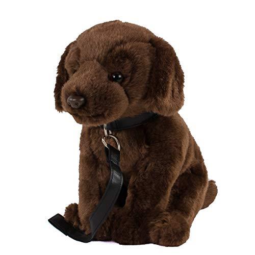 Teddys Rothenburg Peluche de labrador con correa, 30 cm, con cola, perro de peluche