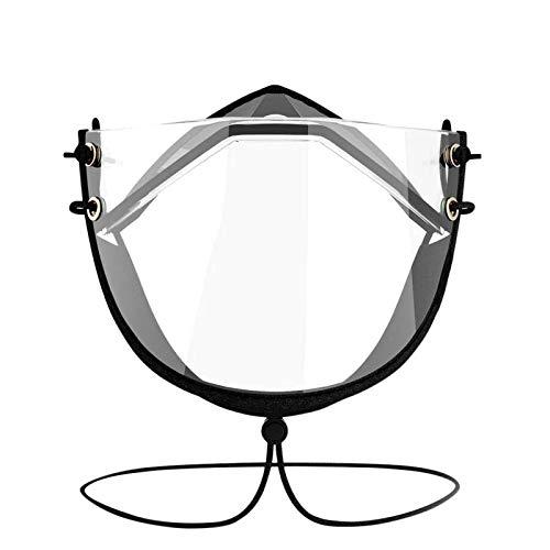 LEIKEGONG Totalmente Transparente, Alta Definición, Antivaho, Transparente, Lenguaje De Labios Ajustable, Protección Careta Reutilizable (2 Piezas) (Color : Black, Size : A)