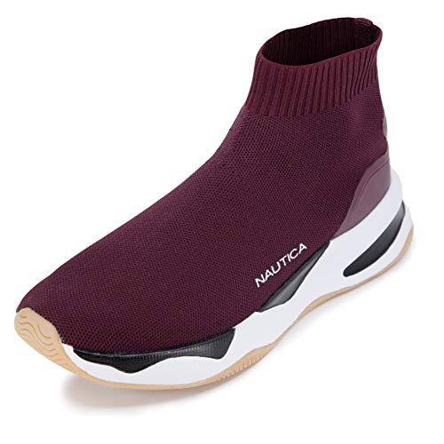 Nautica Mens High-Top Sock Slip-On Sneaker with Extra Ankle Support - Willym-Burgundy -12