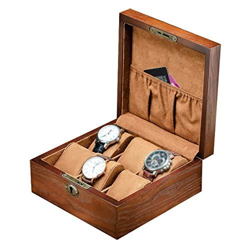 HAILIZI Caja de colección de relojes Caja de reloj de gran tamaño for los hombres - Cristal de lujo 6 ranuras Relojes de pulsera de muñeca de madera organizador del caso de exhibición de almacenamient
