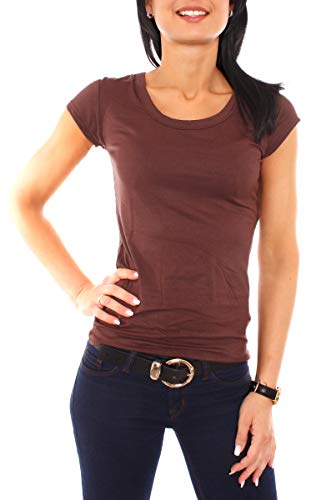 Easy Young Fashion Damen T-Shirt Basic Kurzarm Top mit Rundhals-Ausschnitt Skiny Fit NOS Einfarbig Dunkelbraun M 38