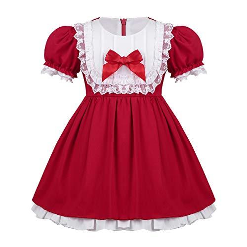 YiZYiF Bébé Fille Robe Princesse Demoiselle d'honneur Robe Soirée Mariage Robe à Manches de Bulles Robe Noël Carnaval 12 Mois-5 Ans Rouge 24 Mois