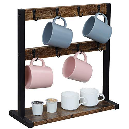 OROPY Portatazze Vintage con 16 Ganci, Espositore per Tazzine da caffè da Banco, Scaffale da Tavolo da Cucina con Base per Tazze, Capsula di caffè, Zucchero, 42x15x43 cm