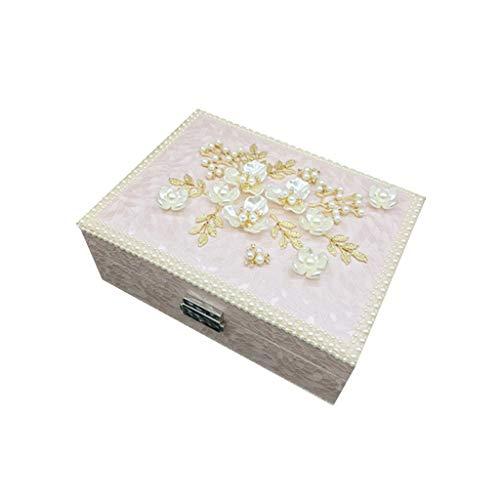 Conemmo High-End-Schmuckschatulle Princess European Korean Palace Pearl mit Schloss aus Holz einfache niedliche Schmuck Schmuck Aufbewahrungsbox