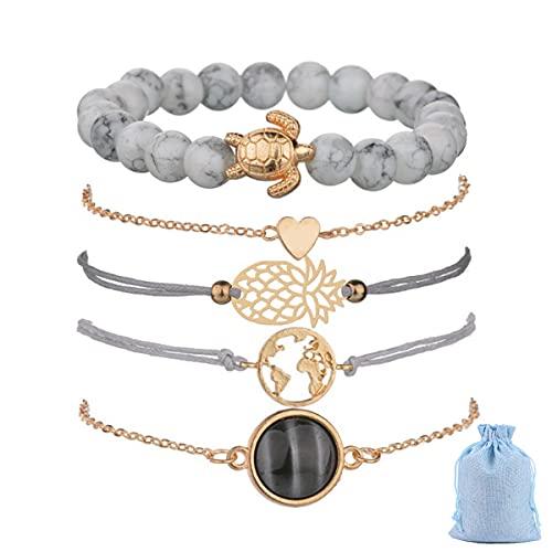 Jxuzh Juego de pulseras de mujer bohemias multicapa, pulseras ajustables con corazón dorado, mapas de mármol blanco, pulsera de piña, pulsera de tortuga, 5 unidades