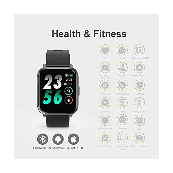 MOTOK - Reloj inteligente inteligente para hombre y mujer, 5 ATM, resistente al agua, frecuencia cardiaca y oxígeno… 7