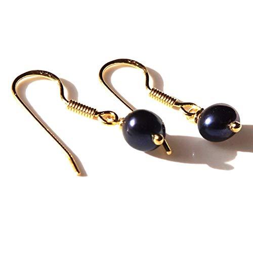 Sterling Silber 925 24K Gold Süßwasser schwarz 6-7mm Perle Ohrringe