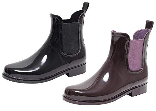 ZAPATO EUROPE Chelsea Boots dames regenlaarzen regenlaarzen rubberen laarzen rubberlaarzen laarzen laarzen laarzen Jelly Boot halflaarzen Wellingtons zwart 37-41