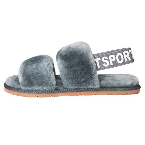 Jubestar Dame Flauschige Hausschuhe Frauen Winter Pantoffeln Wärme Bequeme Slippers Hausschlappen Mit Elastischen Riemen Grau