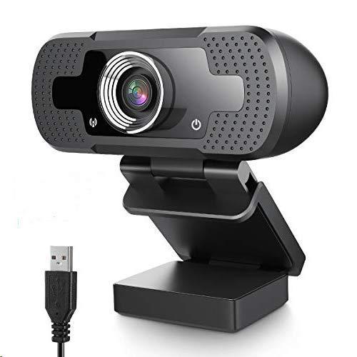 HOCOSY Cámara Web, Plug y Play USB Cámara Web Full HD 1080P para PC, Portátil, Transmisión en Vivo Webcam con Micrófono para Video,Conferencias, Juegos, Compatible con Windows, Android, Linux,Mac OS