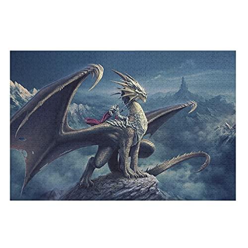 CCMugshop Divertidos puzles de fantasía con dragones y guerreros montañas impresos, 500/1000 piezas, juego de juguetes de regalo, 200 piezas, color blanco