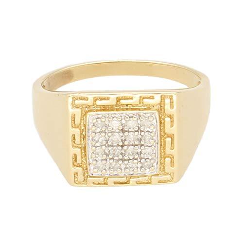 Jollys Jewellers Anillo de oro amarillo de 9 quilates para hombre con sello de diamante de 0,25 quilates (tamaño Y 1/2) cabeza de 15 x 14 mm