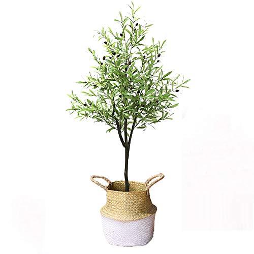 Yipianyun Palme Palmenbaum Königspalme, Cocospalme Kunstpflanze Kunstbaum Künstliche Pflanze Echtholz Hochzeit/Party Empfangstisch Blumen,Weiß,170cm