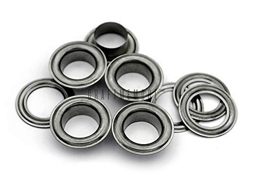 CRAFTMEMORE 1/2' (13MM) Hole 50 Sets Grommets Eyelets with Washers for Leather, Tarp, Canvas (Gunmetal)