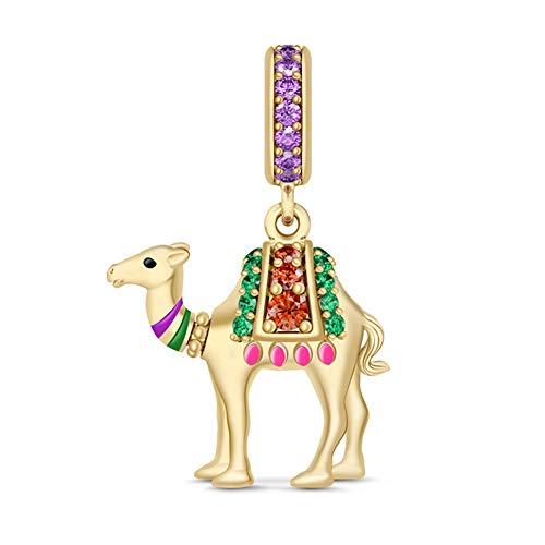 GNOCE - Colgante de plata de ley con diseño de alpaca camello...