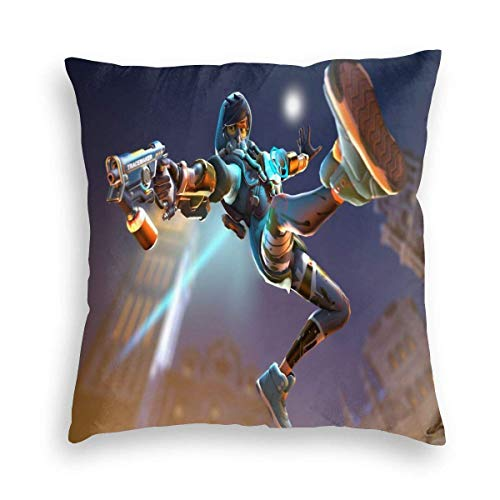 Over-Watch Tracer Games Velvet Throw Pillow Cover Decor Unique Pillows Case Square Cushion for Chair Home Car Kissenbezüge 22x22Inch(55cmx55cm)