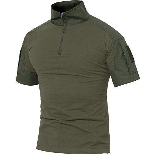 MAGCOMSEN Herren Baumwollehemd Kurzarm Airsoft Shirt für Herren Military Uniform Atmungsaktiv Outdoor Hemd mit 1/4 Reißverschluss Armeegrün M