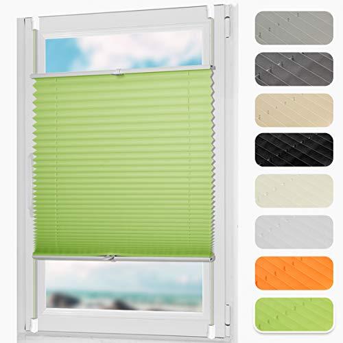DoNey Plissee klemmfix ohne Bohren Plisseerollo Jalousie Rollo 40 x 130cm (BxH) Grün Seitenzugrollo Faltrollo Sonnenschutz für Fenster und Tür