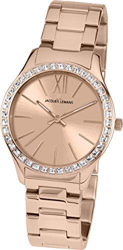 Jacques Lemans Damen Analog Quarz Uhr mit Edelstahl beschichtet Armband 1-1841H