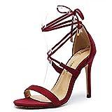 Sandales à Lacets pour Femmes, Sandales à Talons Hauts pour Femmes, Chaussures de soirée, Chaussures à Lacets pour Dames à lanières- Wine Red  36