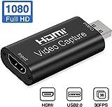 オーディオビデオキャプチャカード-HDMI to USB 2.0-高解像度1080p 30fps-ゲーム、ストリーミング、教育、ビデオ会議、またはライブブロードキャスト用にコンピューターに直接記録